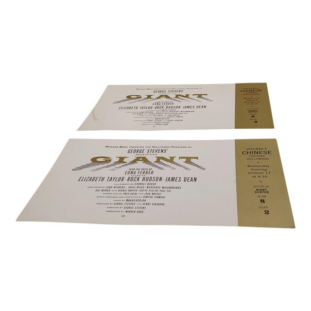 """""""Giant"""" Original 1956 Chinese Theater Hollywood Premiere Tickets - a Pair For Sale"""