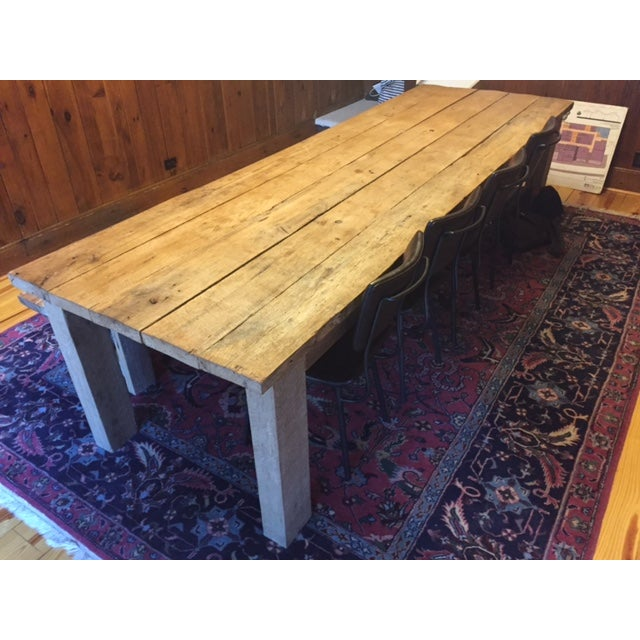 Rustic White Oak Dining Table and Bench - Image 4 of 6