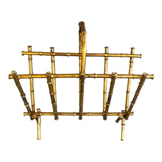 1960s Vintage Gilt Metal Magazine Rack Attributed to Maison Bagues For Sale