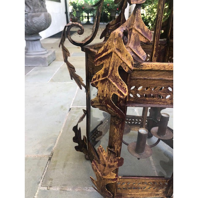 Two Worlds Arts Custom Large Scale Gilt Tole Chandelier/Hall Lantern For Sale - Image 12 of 13
