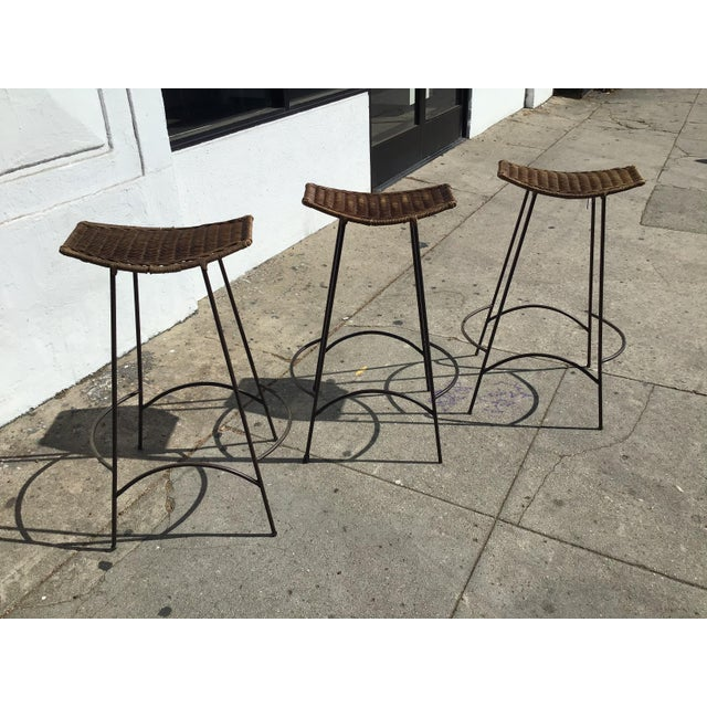Contemporary 1970s Mid Century Arthur Umanoff Rattan and Iron Bar Stools- Set of 3 For Sale - Image 3 of 11