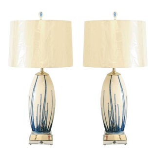 Lovely Pair of Custom-Made Portuguese Drip Ceramic Lamps in Blue and Cream