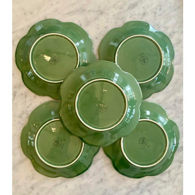 Vintage Green Cabbage Majolica salad plates by Bordallo Pinheiro of Portugal. This set of five salad plates will add a...