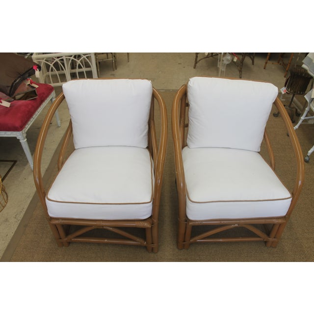 Vintage White Bamboo Chairs - A Pair - Image 5 of 5