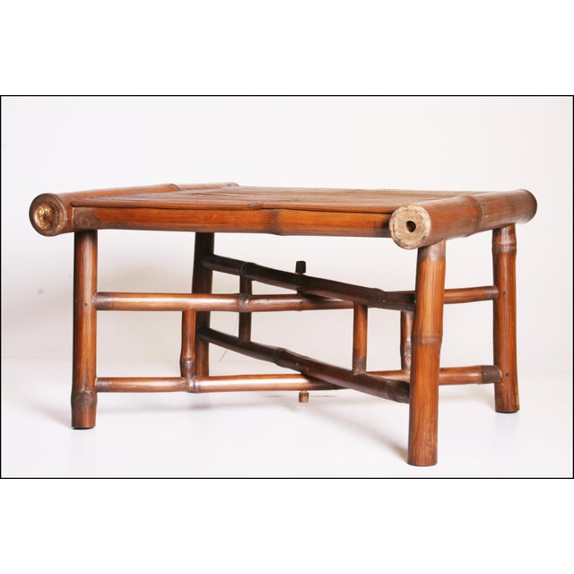 Vintage Brown Bamboo Coffee Table - Image 6 of 11
