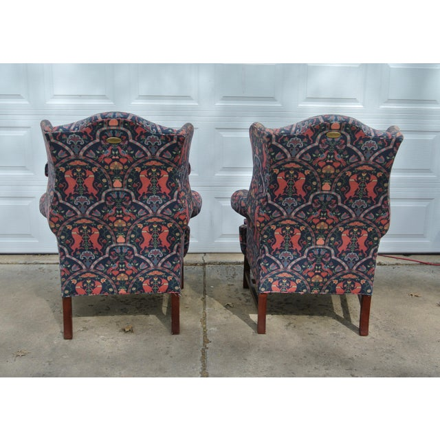 Lexington Furniture 1970s Vintage Wingback Upholstered Chairs- A Pair For Sale - Image 4 of 11