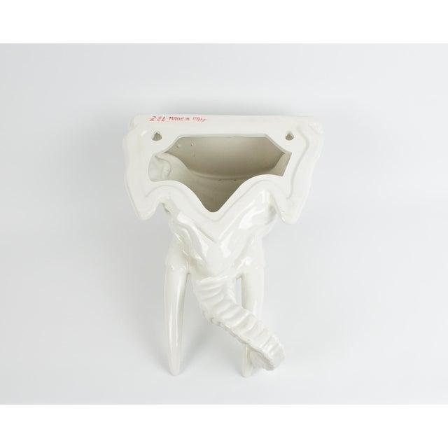 White 1970s Italian White Ceramic Elephant Wall Sconce Shelf For Sale - Image 8 of 13