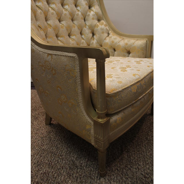 Vintage Tufted Back Louis XV French Bergere Chair - Image 9 of 11