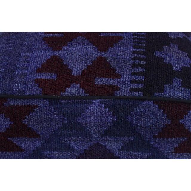 Retro Demetria Purple/Dark. Gray Kilim Upholstered Handmade Ottoman For Sale In New York - Image 6 of 8