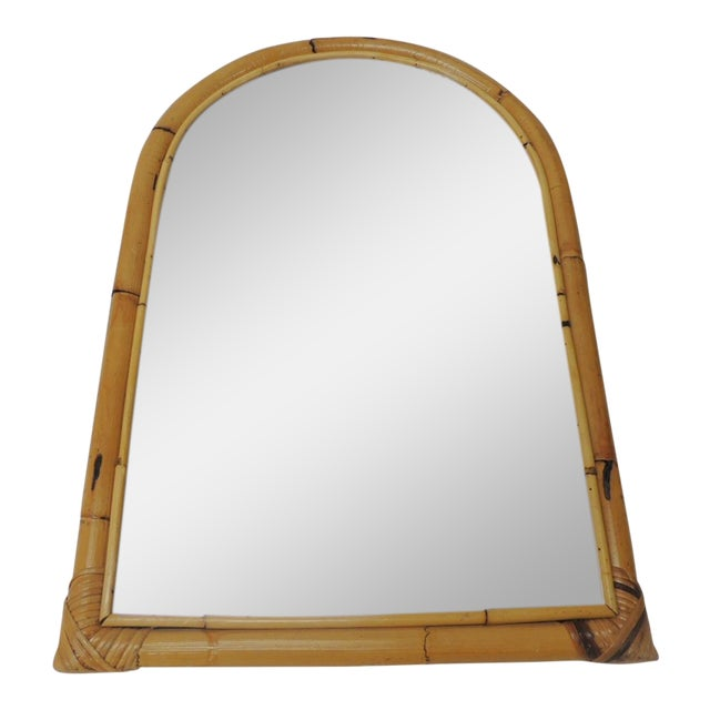Vintage Rectangular Bamboo Mirror For Sale