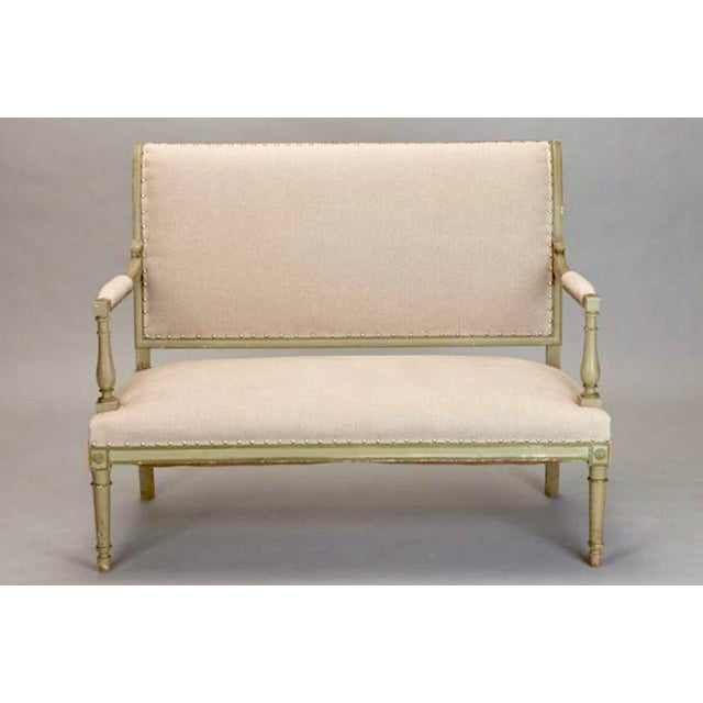 French Empire Style Painted Settee With Neutral Upholstery - Image 3 of 8