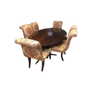 Mahogany English Oval Dining Room Table & Six Upholstered Parsons Chairs For Sale