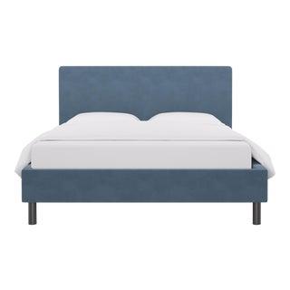 Queen Tailored Platform Bed in Ocean Velvet For Sale