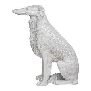 Life-Size Borzoi in Italian White Glazed Terracotta For Sale