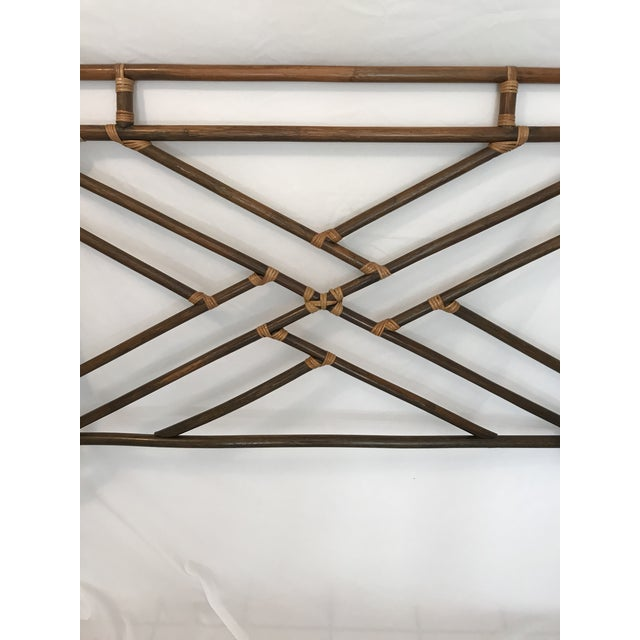 Vintage Chippendale Double or Queen Bamboo Pagoda Headboard For Sale - Image 4 of 9