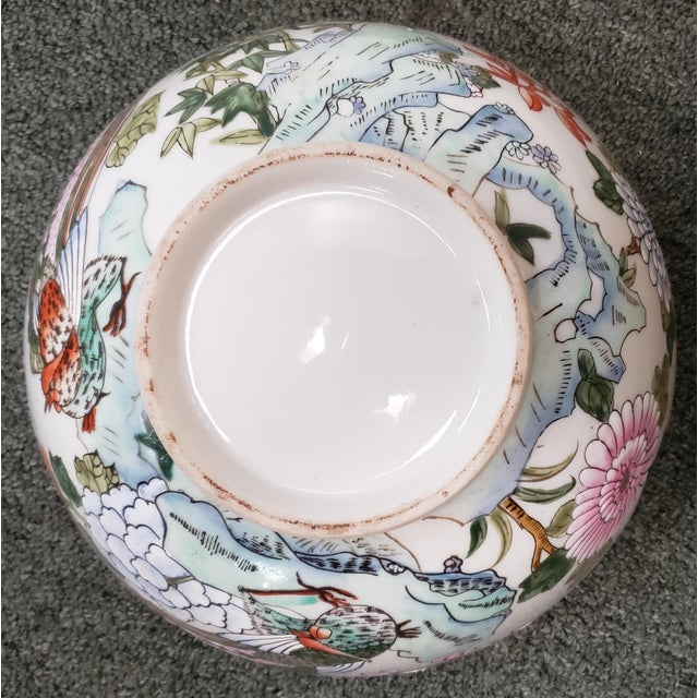 Ceramic Mid 20th Century Chinese Famille Verte Porcelain Peacock/Floral Motifs Bowl For Sale - Image 7 of 8