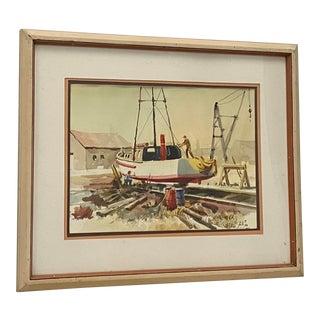 "Jake Lee ""Out for Repairs"" Original Watercolor C.1987 For Sale"