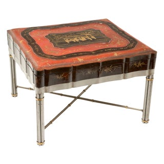 Mid 19th Century Chinese Lacquered & Gilt Robe Box on Stand For Sale
