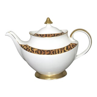 Ralph Lauren Hutchinson Leopard Wildlife Pattern Porcelain Teapot For Sale