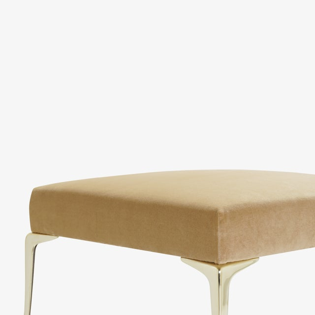 Metal Colette Brass Ottomans in Camel Velvet by Montage, Pair For Sale - Image 7 of 9