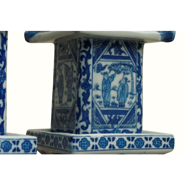 Chinoiserie Chinoiserie Blue & White Ceramic Pagoda Jars - a Pair For Sale - Image 3 of 7