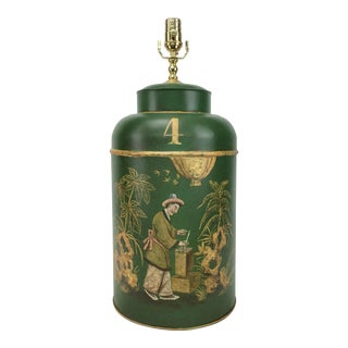 English Export Tea Caddy #4 Lamp Green Background With Gold Painted Accents For Sale