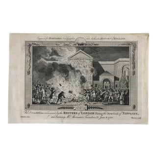 1783 Engraved Print: The Devastations by Rioters of London For Sale