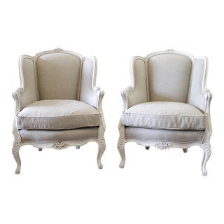 Vintage Mid Century Louis XV Style Wing Back Chairs Belgian Linen Upholstery- A Pair For Sale