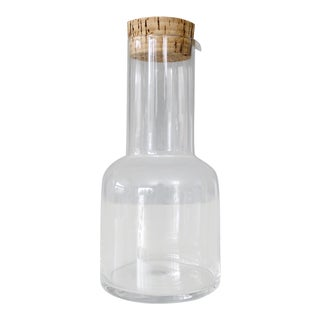 Mid Century Glass Decanter Bottle With Cork Stopper Jar For Sale