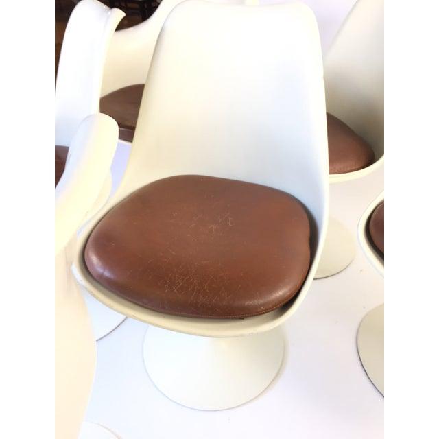 Eero Saarinen Leather Tulip Chairs - Set of 6 - Image 7 of 9