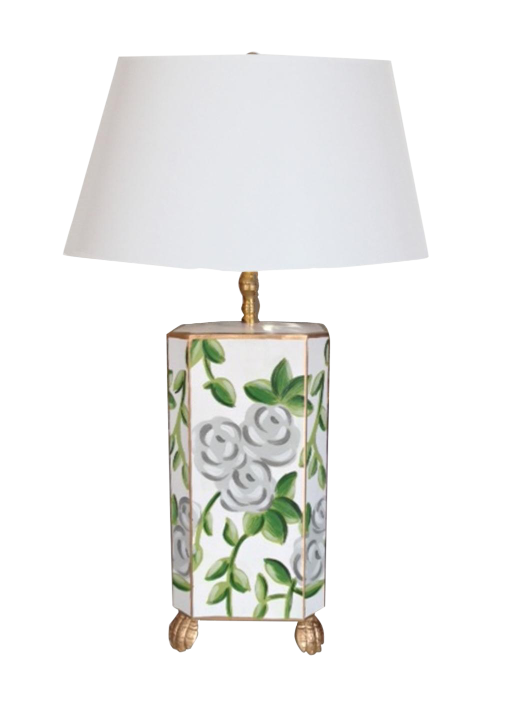 Dana Gibson White Chintz Lamp - Image 1 of 2