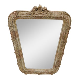 French Carved Cream Distressed Mirror For Sale