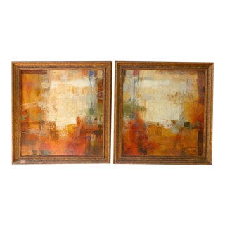 Ursula J Brenner Paintings Original Abstracts on Canvas - a Pair For Sale