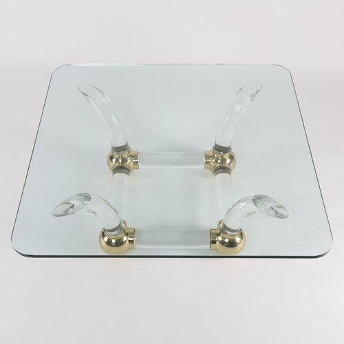 1970S SABRE-LEG LUCITE, BRASS AND GLASS COFFEE TABLE For Sale In New York - Image 6 of 10