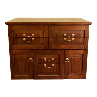 Vintage Walnut Chest of Drawers Oversized W Four Sides Paneled Cubbies and Extra Features For Sale