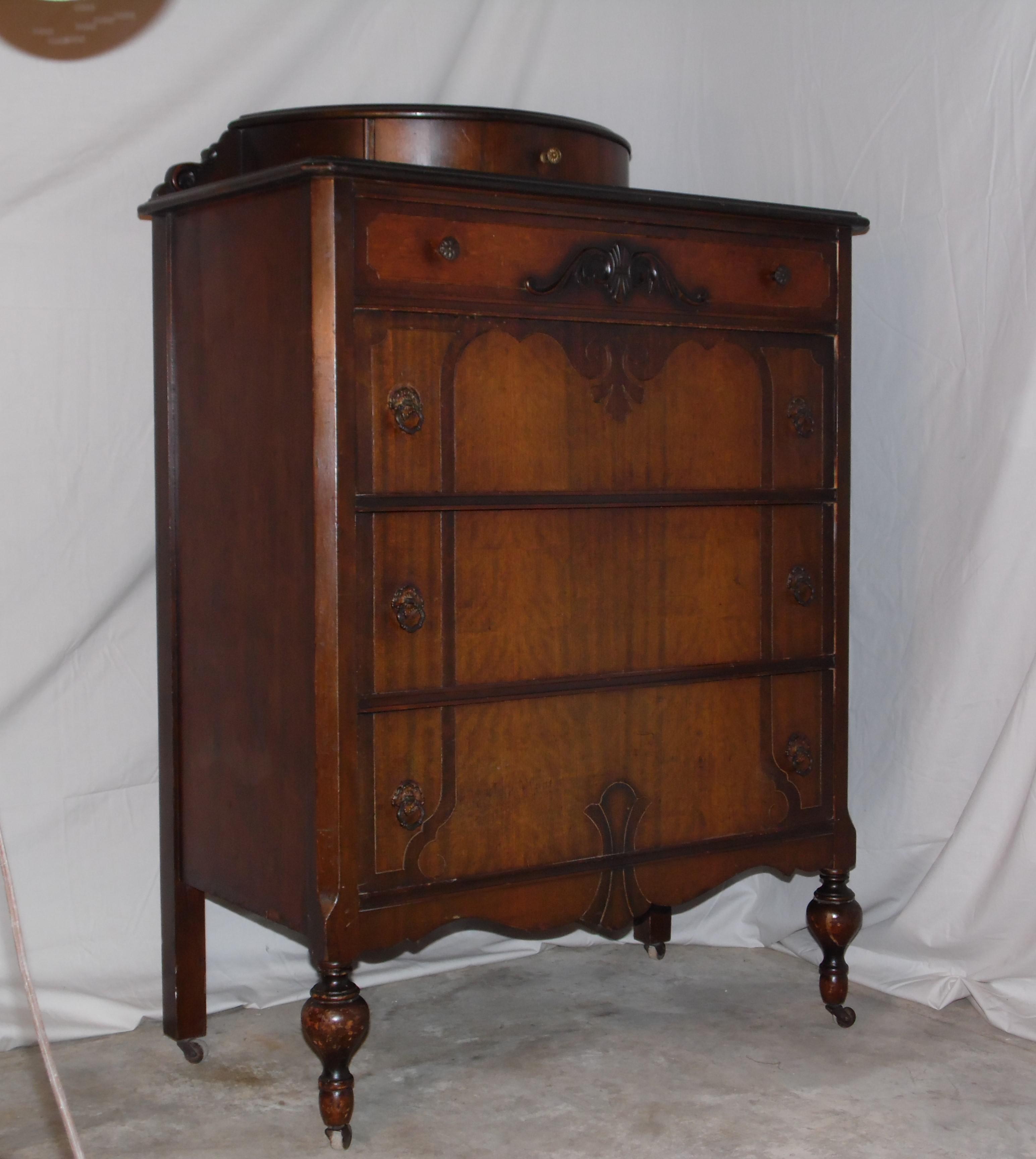 1920s antique art deco walnut dresser bureau chest of drawers demilune top image 8 of