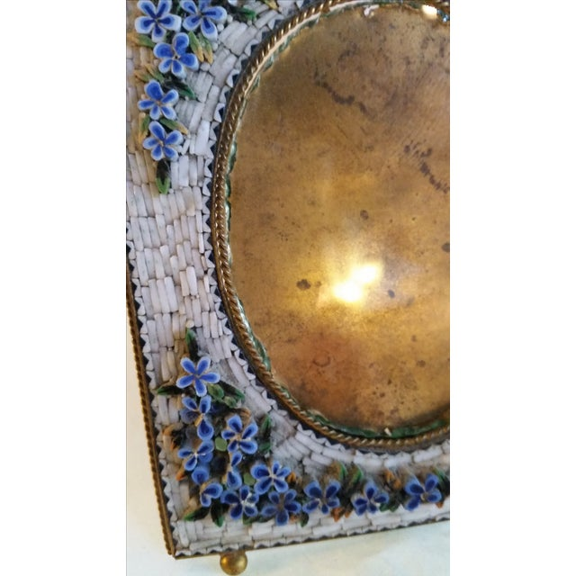 Late 19th Century Antique Floral Mosaic Photo Frame For Sale - Image 5 of 6