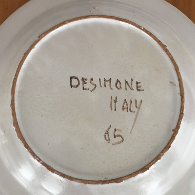 """DeSimone Mi- Century 10 """" Pottery Charger For Sale - Image 9 of 10"""