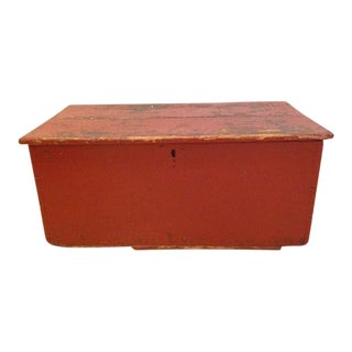 19th Century Rustic Barn Red Trunk/ Blanket Chest For Sale