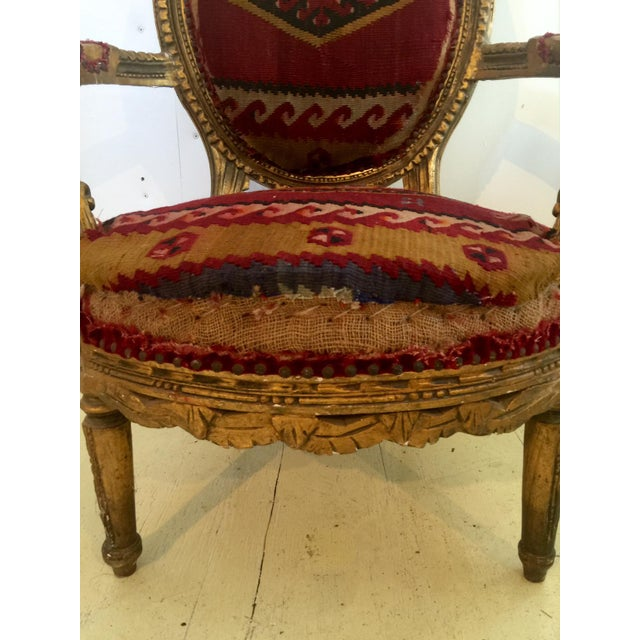 Amazing French Arm Chair Covered in an Antique Turkish Kilim Fabric For Sale - Image 4 of 11