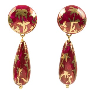 Ines De La Fressange Paris Signed Red Gold Ceramic Dangling Clip on Earrings For Sale