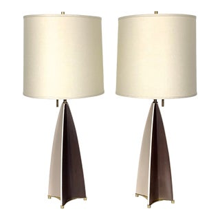 Ceramic Parabolid Fin Table Lamps by Gerald Thurston 1950s With Shades - a Pair For Sale