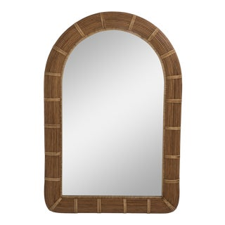 Mid Century Wrapped Pencil Reed Rattan Boho Hollywood Chic Demilune Mirror For Sale