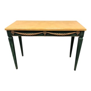 Hickory White Green and Gold Neo-Classical Style Console Table For Sale