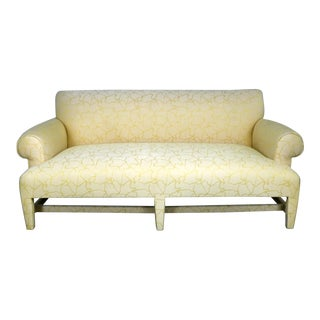 Donghia Love Seat Sofa in Cream and Yellow Fat Man Fabric Attributed to Angelo Donghia