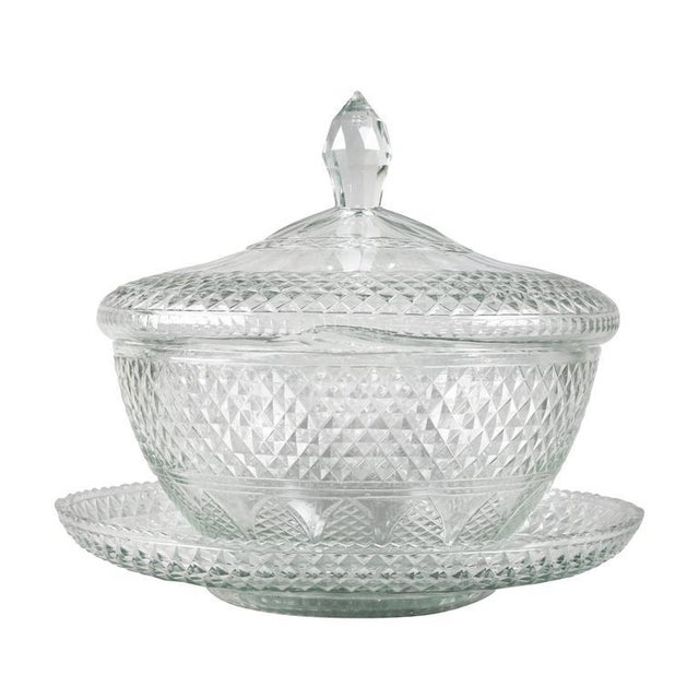 Anglo Irish Cut-Glass Covered Tureen and Underplate For Sale - Image 4 of 10