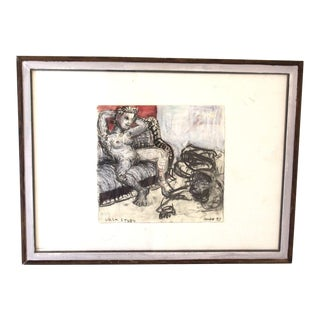 Milo Reice LuLu Signed Dated & Framed Original Nude Charcoal Paint Drawing 1997 For Sale