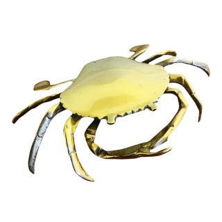 Mid Century Brass Crab Box For Sale