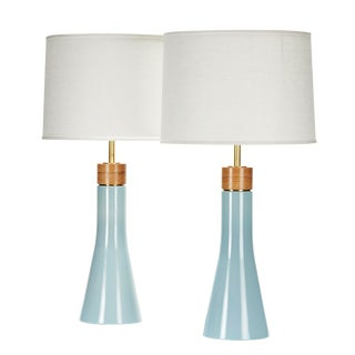 Bauer Lamp in Shallows With White Oak Cap - a Pair For Sale