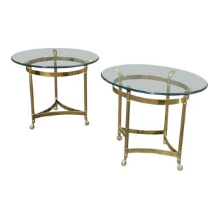 1950s French Provincial Brass End Tables - a Pair